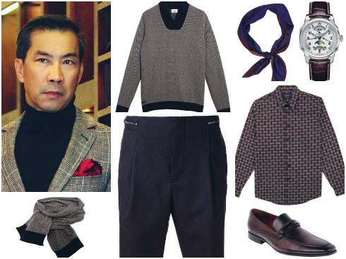 Áo len Lacoste, đồng hồ dây da Longines, khăn len Lacoste, khăn Topman, áo sơmi họa tiết Topman, giày da Pedro, quần Emporio Armani.