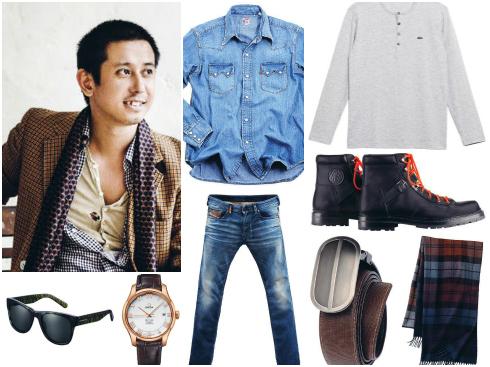 Kính mát Burberry, áo sơmi denim Levi's, thắt lưng Pedro, quần jeans  Diesel, áo len mỏng Lacoste, đồng hồ dây da Omega, khăn kẻ carô Gap, bốt combat Hermès.