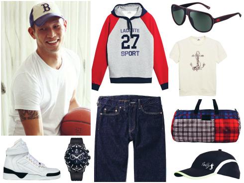 Đồng hồ thể thao Edox, áo thể thao Lacoste, áo thun Lacoste, quần  jeans Levi's, túi xách vải Marc By Marc Jacobs, kính mát Versace, nón Lacoste, giày thể thao Givenchy.