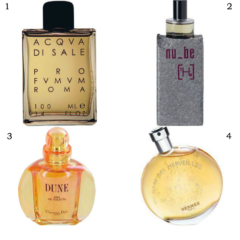 1. Acqva di Sale Profumum 2. Nu Be 3. Dune Dior 4. Eau des Merveilles Hermès.