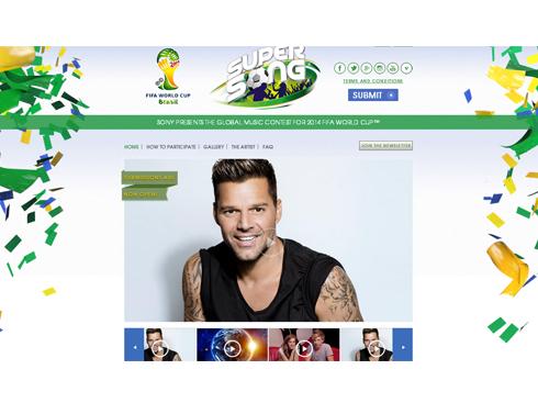 Ricky Martin trên trang chủ của SuperSong