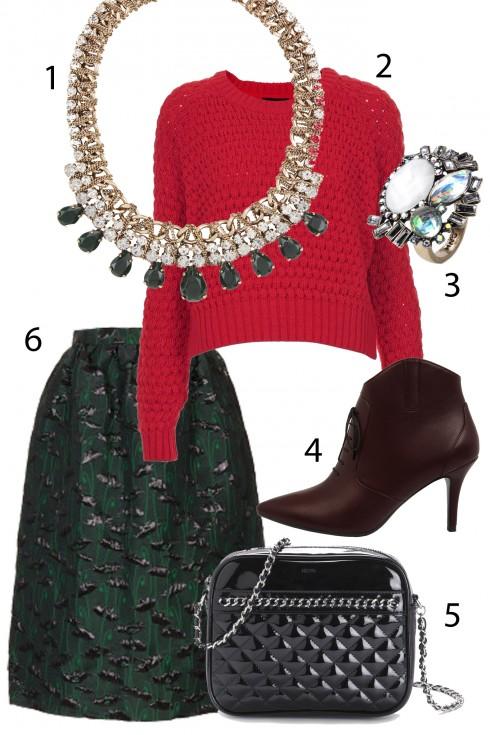 Thứ 2 đáng yêu với chân váy xòe và áo len đỏ. <br> 1. ACCESSORIES 765.000 VNĐ 2. TOPSHOP≈1.500.000 VNĐ 3. MANGO 4. CHARLES&amp;KEITH 5.MANGO ≈1.650.000 VNĐ 6. TOPSHOP ≈1.780.000 VNĐ