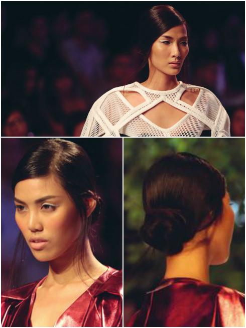 BST Kin by Công Trí: Trang điểm mạnh mẽ kết hợp cùng tóc búi hững hờ