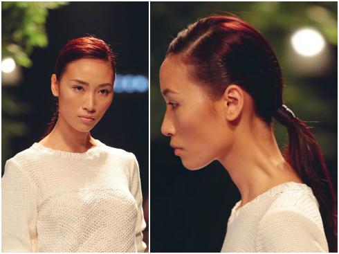 Siêu mẫu Huyền Trang và tóc đuôi ngựa ôm sát chải mượt trong phần trình diễn của NTK Hiền Lê