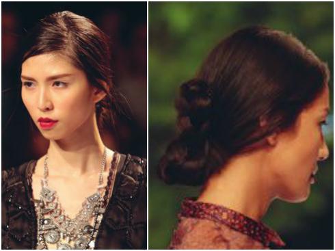Mái tóc lãng mạn tôn thêm vẻ nữ tính của những trang phục mang hơi hướng Ba Tư.