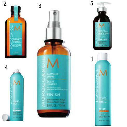 1 & 4. Gôm xịt giữ nếp linh hoạt Moroccanoil 2.Dầu dưỡng tóc Moroccanoil 3. Xịt bóng Moroccanoil 5. Kem tạo kiểu dưỡng ẩm Moroccanoil