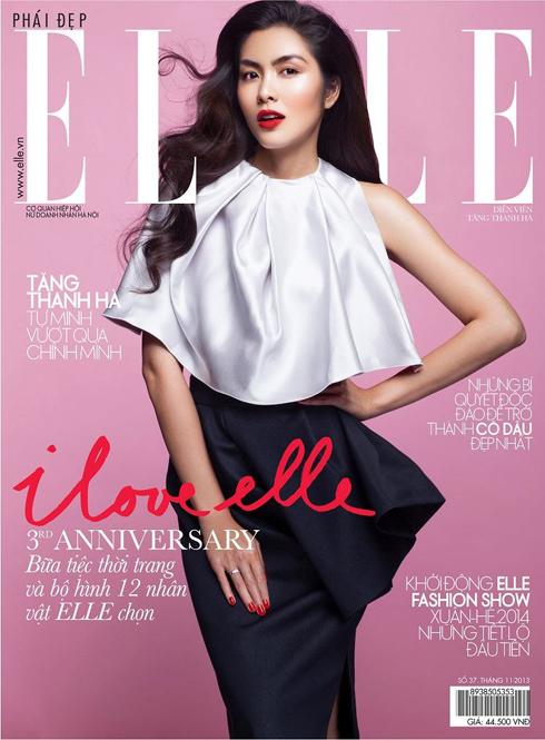 Bìa ELLE tháng 11 Việt Nam: Diễn viên Tăng Thanh Hà trong bộ ảnh kỷ niệm sinh nhật 3 năm của ELLE Việt Nam.