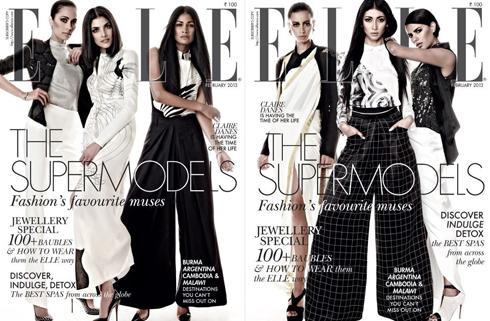 Bìa ELLE Ấn Độ tháng 2: Dàn siêu mẫu nổi tiếng gốc Ấn: Carol Gracias, Bhavna Sharma, Indrani Dasgupta và Sapna Kumar.