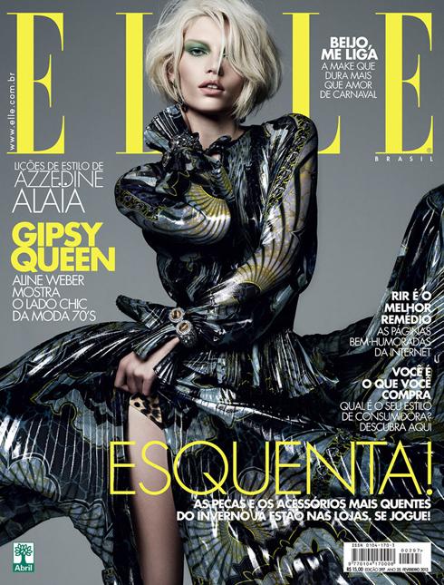 Bìa ELLE Brazil tháng 2: Siêu mẫu hàng đầu thế giới Aline Weber trong chiếc đầm của Emilio Pucci.