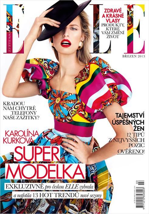 Bìa ELLE CH Séc tháng 3: Siêu mẫu Karolina Kurkova trong chiếc đầm rực rỡ sắc màu của Dolce&Gabbana.
