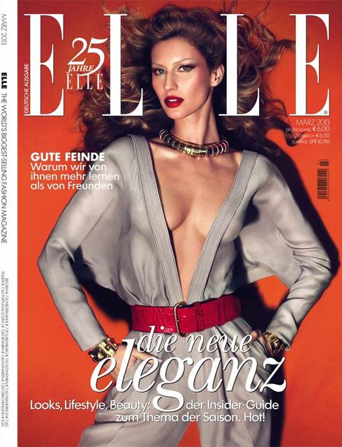 Bìa ELLE Đức tháng 3: Siêu mẫu Gisele Bündchen - biểu tượng thời trang của thế giới.