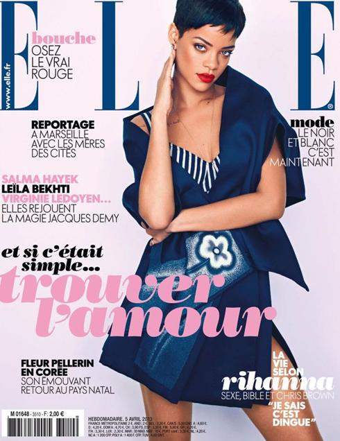 Bìa ELLE Pháp tháng 4: Nữ ca sĩ nhạc Pop Rihanna.