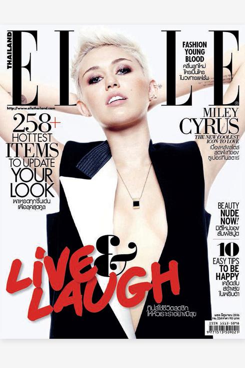 Bìa ELLE Thái Lan tháng 6: Ca sĩ nhạc Pop đình đám và tai tiếng nhất năm 2013 Miley Cyrus.