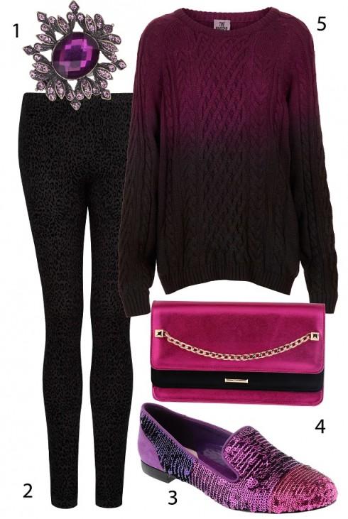 Thứ Bảy: ấm áp với áo sweater và tông màu hồng tím.<br/>1. ACCESSORIZE 465.000 VNĐ 2. MANGO1.560.000 VNĐ  3. PEDRO 4. PEDRO 5. TOPSHOP 1.780.000 VNĐ