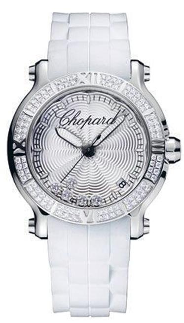 Đồng hồ nằm trong dòng Happy Sport với 5 viên kim cương lớn di chuyển trên mặt đồng hồ làm từ thép không gỉ, kim cương, dây đeo cao su Chopard.