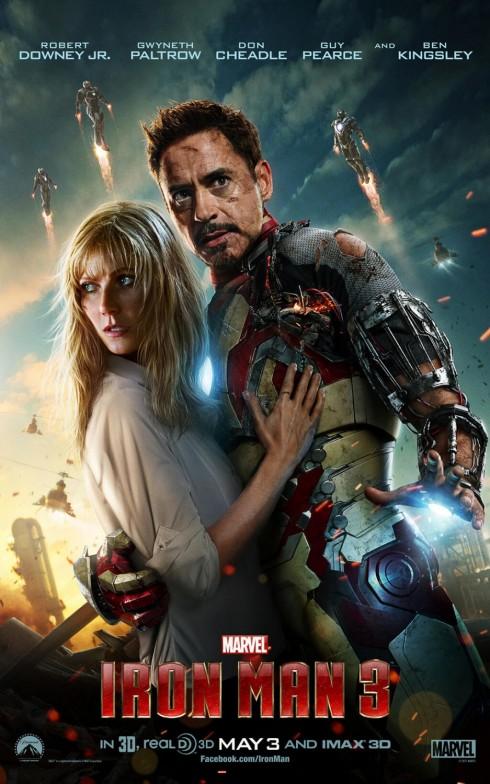 1. Iron Man 3<br/>Ra mắt từ tháng 5/2013, Iron Man 3 đã ghi được trở thành bộ phim nổi bật trong năm với 1,2 tỉ đô doanh thu phòng vé trên thế giới. Cùng với con số này, Iron Man 3 không những trở thành phim ăn khách nhất năm mà còn lọt top 5 bộ phim có doanh thu lớn nhất mọi thời đại và top 16 bộ phim thu về hơn 1 tỉ USD. Bộ phim là phần tiếp theo của siêu phẩm Iron Man năm 2008 và Iron Man 2 năm 2010 với mức kinh phí đầu tư là 200 triệu USD, được đạo diễn bởi Shane Black và thể hiện bởi các diễn viên Robert Downey Jr., Gwyneth Paltrow. Cũng nhờ bộ phim này mà nam diễn viên Robert đã được xếp vào top 10 sao nam kiếm tiền giỏi nhất năm 2013 do tạp chí Forbes bình chọn. <br/><br/> Không chỉ gây ấn tượng với doanh thu kỷ lục, Iron Man 3 còn khẳng định chỗ đứng với 5 lần chiến thắng ở các giải thưởng BMI Film & TV Awards và Teen Choice Awards, 9 lần được đề cử cho các giải Golden Trailer Awards và Teen Choice Awards.