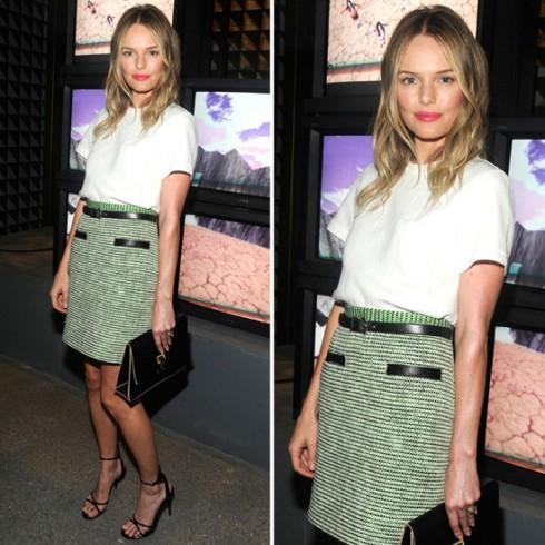 Kate Bosworth trong chiếc váy tweed xanh của thương hiệu Proenza Schouler