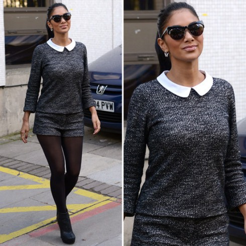 Nicole Scherzinger với áo và quần short đều từ vải tweed