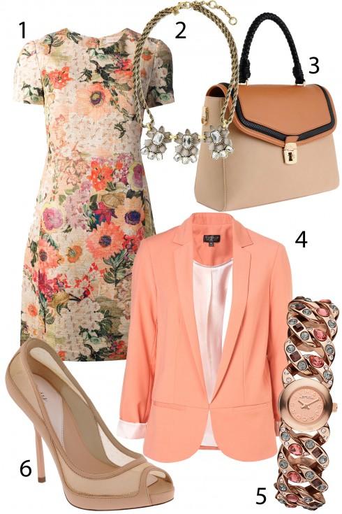 Thứ 4: Trang nhã với đầm hoa hồng cam và khoác blazer tông màu pastel.<br/>1. TORY BURCH (≈1.780.000 VNĐ) 2.BANANA REPUBLIC 3. PEDRO 4. TOPSHOP (≈1.660.000 VNĐ) 5. MARC BY MARCJACOBS  6. PEDRO