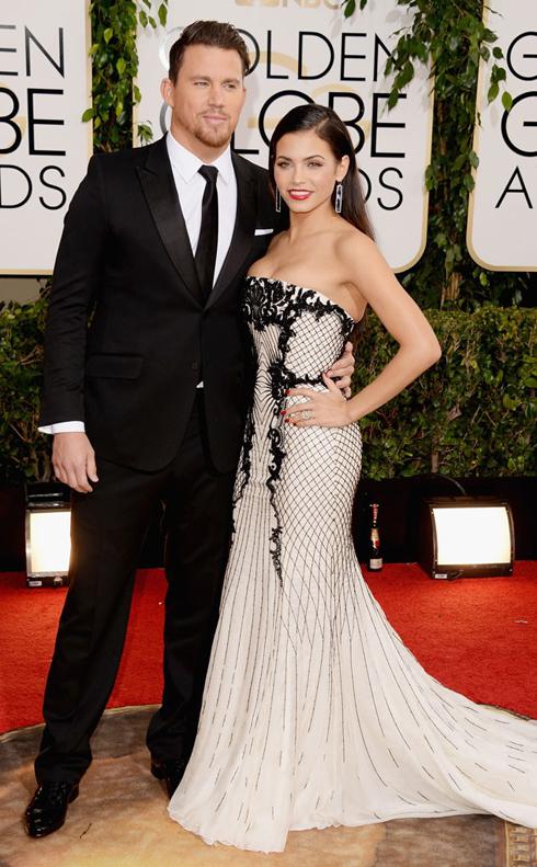 Channing Tatum đã chọn Gucci cho dịp quan trọng này và vợ anh Jena Dewan-Tatum duyên dáng trong thiết kế của Roberto Cavalli.