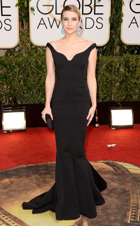 Emma Roberts trong chiếc đầm đen quý phái của Lanvin.