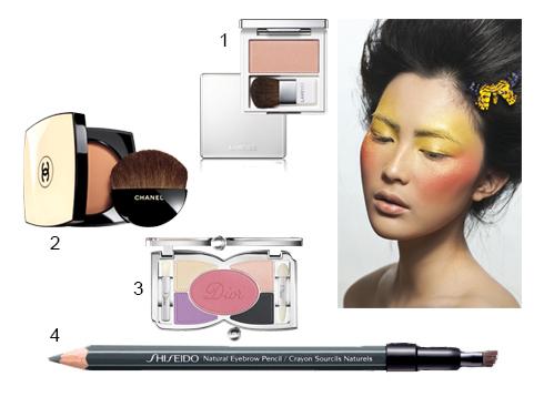 Làn da ánh lên màu cam khỏe khoắn nhờ lớp nền tự nhiên trong suốt và má hồng cam có nhũ. Đôi mắt không kẻ viền, không mascara, chỉ tán màu vàng lên khắp bầu mắt.<br/>1.Má hồng cam có nhũ Laneige 2.Phấn nén tự nhiên Les Beiges Chanel 3.Bộ phấn mắt, viền mắt &amp; má hồng Dior 4.Bút chì chân mày Shiseido