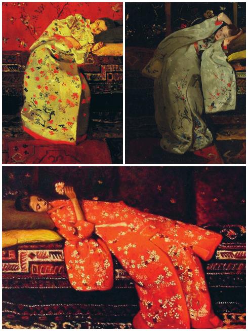 Loạt tranh cô gái mặc kimono.