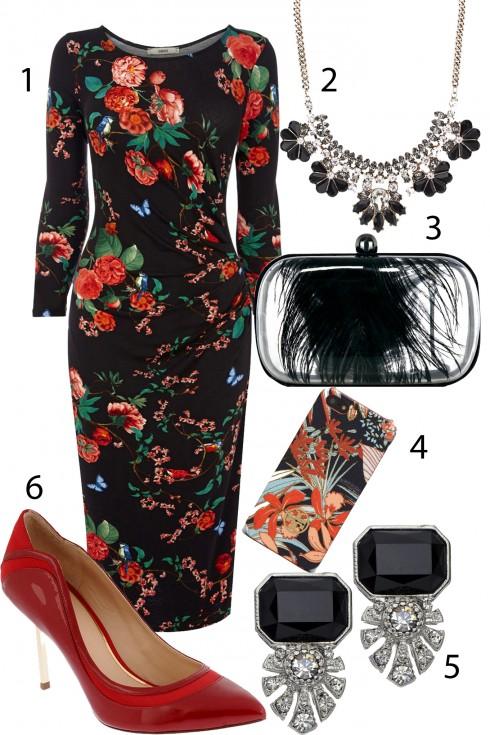Thứ 3: Bí ẩn và quyến rũ với sắc đỏ <br>1.OASIS 2,ACCESSORIZE 1.005.000 VNĐ 3.COAST 4.TORY BURCH 5.ACCESSORIZE 325.000 VNĐ 6.PEDRO<br/>TIP: Dáng váy suông  dài có độ nhún (xếp ly dọc thân áo) sẽ phù hợp nhất đối với dáng người đẫy đà. Chú ý đừng chọn những họa tiết hoa to và màu quá tối vì nó sẽ khiến bạn trông đứng tuổi và kém phần tươi trẻ.