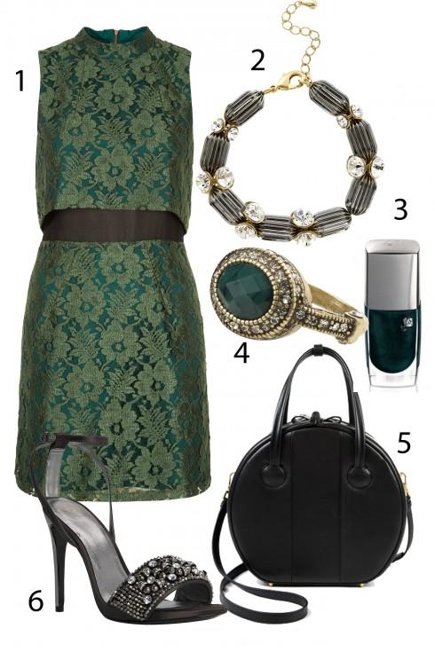 Thứ 4: Sắc xanh hiện đại trên chất liệu truyền thống cho những bữa tiệc tất niên hoành tráng.<br/>1.TOPSHOP 2.COAST 3.LANCÔME 4.ACCESSORIZE 5.MARC BY MARC JACOBS 6.MANGO  <br> TIP: Những chi tiết nhỏ như những chiếc nhẫn hay màu sơn móng tay cùng tông với trang phục cũng sẽ khiến phong cách của bạn thêm tinh tế và thời trang hơn.