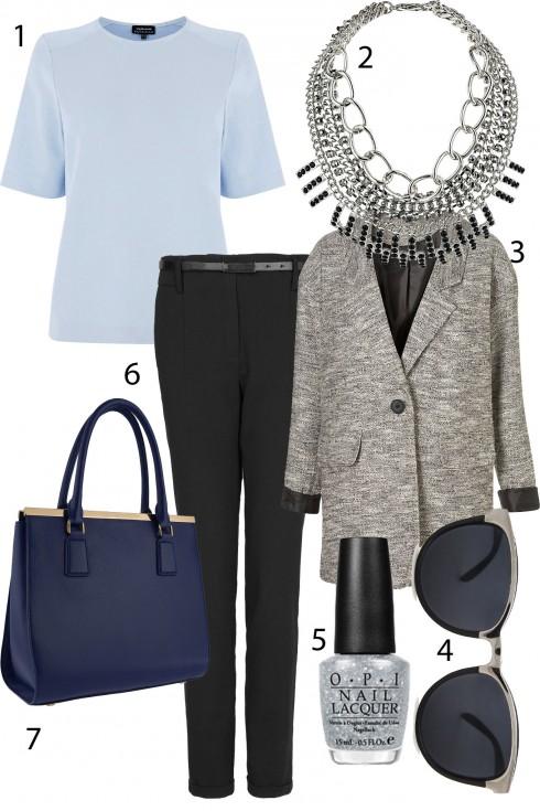 """Thứ 4: Dịu dàng với tông màu xanh ngọc.<br/>1.WAREHOUSE 2.TOPSHOP 3. TOPSHOP 4.MANGO 5. OPI 6. MANGO 7.CHARLES &amp; KEITH <br> TIP: Nếu bạn chỉ có một chiếc áo trơn đơn giản với gam màu trung tính, hãy làm cho bộ trang phục của mình thêm nổi bật và """"màu sắc"""" hơn bằng những chiếc vòng tay, vòng cổ ánh kim thay cho những trang sức khác như bạc, đá, ngọc…"""