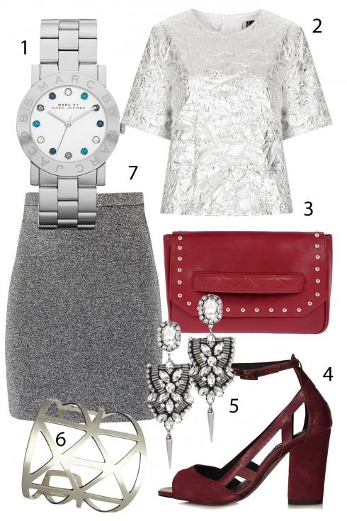 Thứ 3: Hiện đại cùng tông ánh bạc và đỏ đun. <br/>1. MARC BY MARC JACOBS 2. TOPSHOP 3.PEDRO 4.TOPSHOP 5.ACCESSORIZE 6. ACCESSORIZE 7.H&amp;M <br> TIP: Điều tối kỵ khi mặc đồ metallic là chọn những bộ đồ bó sát hoặc quá ngắn bởi chúng có thể khiến người khác dễ nhầm bạn với một cô gái bước ra từ sàn nhảy. Vì thế, bạn nên chọn những bộ đồ vừa vặn với cơ thể nhưng không quá bó sát như váy chữ A, áo thun,…