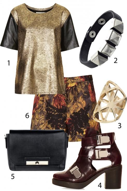 Thứ 7: Một chút punk cho ngày cuối tuần<br/>1. TOPSHOP 2. ACCESSORIZE 3. ACCESSORIZE 4.TOPSHOP 5. PEDRO 6. TOPSHOP <br> TIP: Metallic kết hợp cùng trang phục họa tiết là một điểm nhấn thú vị cho trang phục của bạn. Nhưng hãy nhớ chọn tông màu cùng tông với đồ ánh kim.