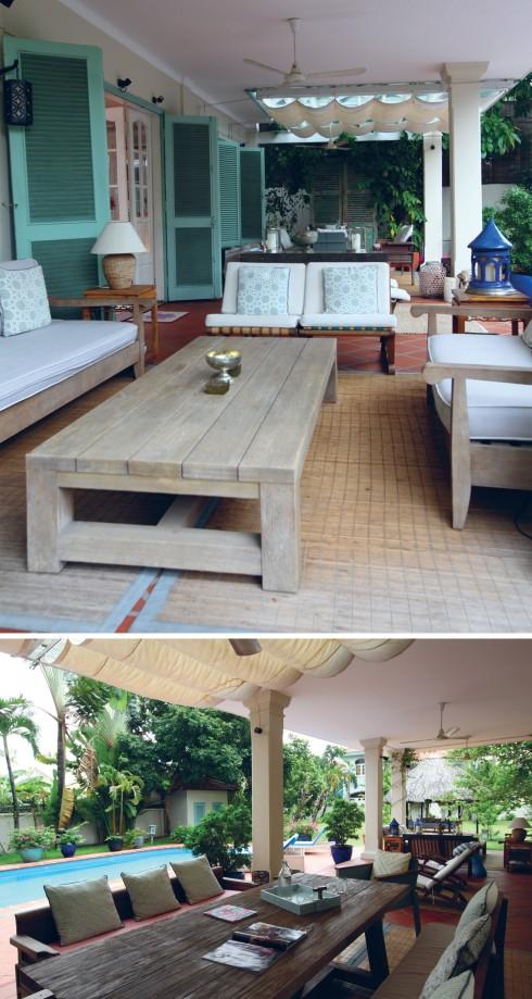 Hàng hiên là không gian dành cho bạn bè với những chiếc bàn dài và ghế có gối dựa. Alice chọn các chất liệu hoàn toàn tự nhiên để tạo ra cảm giác mộc mạc.