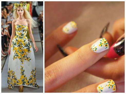 Họa tiết hoa lá tươi sáng như những bộ trang phục Xuân Hè của Oscar de la Renta.