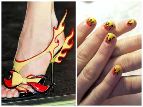 Hình ngọn lửa rất phù hợp với những ai thích phong cách rực rỡ, nổi bật như những ngọn lửa trên phụ kiện Xuân Hè của Prada.