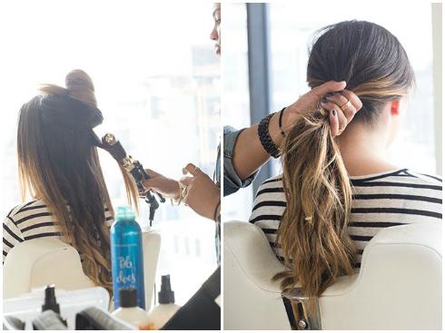 Tóc đuôi ngựa uốn xoăn  - Chia tóc thành từng lọn nhỏ rồi uốn xoăn bằng cây uốn tóc. - Dùng lược chải các lọn tóc ra sau rồi buộc túm lại.