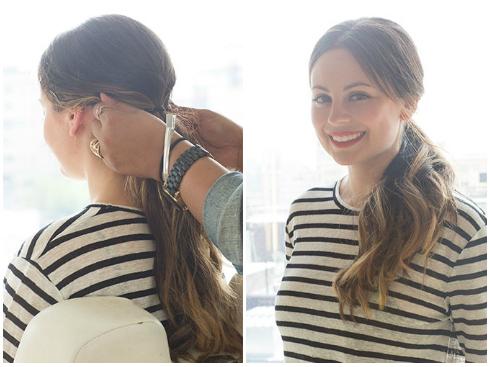 - Dùng kẹp ghim để kẹp gọn những phần tóc con bị thừa ra lại. - Dùng keo cố định kiểu tóc.