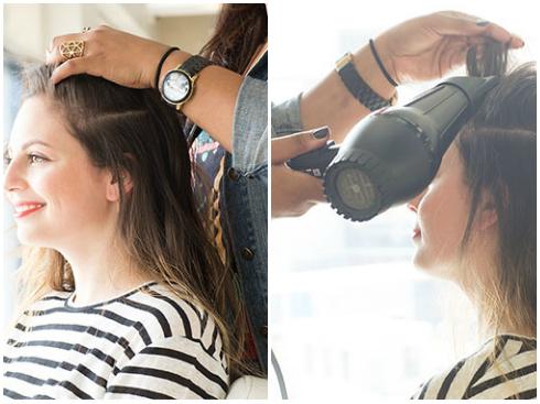 Tóc đuôi ngựa lệch ngôi - Chải hết tóc lệch sang 1 phía. - Đánh rối và sấy phồng tóc lên.