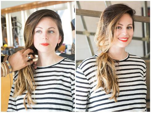 - Buộc tóc lệch sang bên, nhớ buộc lỏng và để vài sợi tóc buông lơi bên ngoài. - Với kiểu tóc này bạn không cần xịt keo mà để tóc mềm mại và rối nhẹ tự nhiên.
