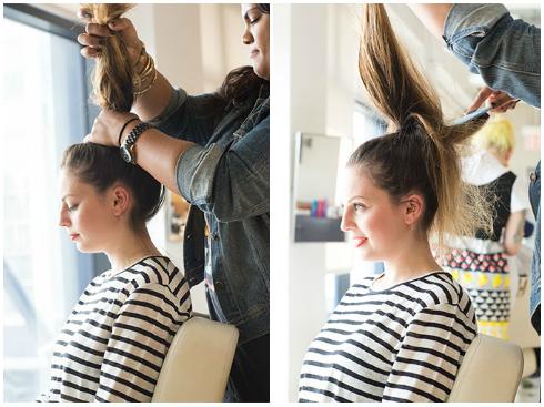 Tóc đuôi ngựa buộc cao - Chia tóc thành lọn và dùng máy kẹp kẹp thẳng. - Sấy cho tóc phồng tự nhiên - Dùng lược chải tóc lên trên đỉnh đầu rồi buộc chặt.