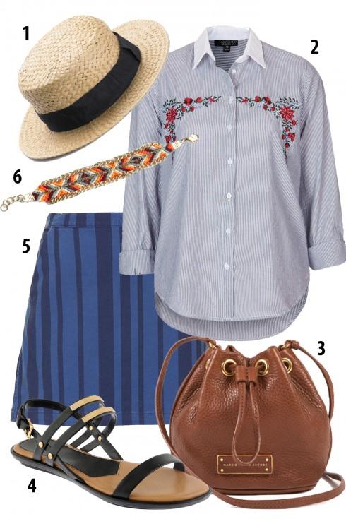 Chủ Nhật: Chân váy chữ A in sọc đứng, áo denim thêu hoa đi cùng với mũ cói cho chút lãng mạn ngày cuối tuần<br/>1. MANGO 2. TOPSHOP 3. MARC BY MARC JACOBS 4. PEDRO 5. TOPSHOP 6. MANGO