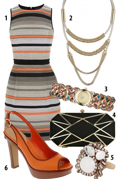 Thứ 3: Váy sọc ngang và giày cùng tông màu cam<br/>1. WAREHOUSE 2. TOPSHOP 3. MARC by MARC JACOBS 4. COAST 5. MANGO 6. PEDRO