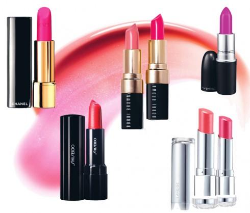 Từ trái qua: Son Rouge Allure Chanel 867.000 VNĐ, son Perfect Rouge Shiseido 590.000 VNĐ, son Uber Pink Bobbi Brown 720.000 VNĐ, son Fantasy Flower M.A.C 500.000 VNĐ, son Serum Intense Lipstick Laneige 600.000 VNĐ
