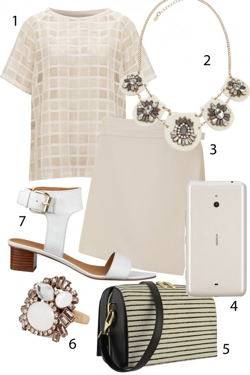 Thứ 2: Kết hợp quần áo theo phong cách White on White thật thanh lịch và sang trọng với sắc trắng tinh khôi.<br/>1.TOPSHOP 2.ACCESSORIZE 3. TOPSHOP 4. NOKIA LUMIA 1320 (7.499.000 VNĐ) 5. CHARLES & KEITH 6. MANGO 7. NINE WEST