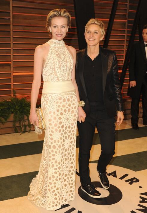 Người dẫn chương trình xuất sắc của Oscar 2014 - Ellen DeGeneres và vợ - siêu mẫu Portia De Rossi.