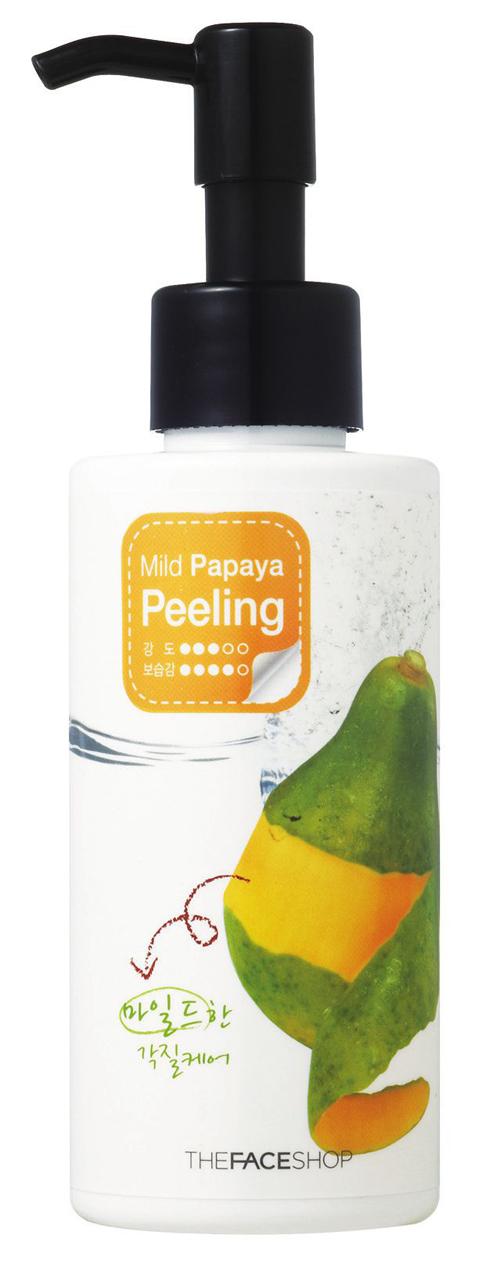 <strong>Mặt nạ Mild Papaya Feeling - The Face Shop</strong><br /> Mặt nạ chiết xuất từ đu đủ giúp nhẹ nhàng làm sạch tế bào chết. Công thức giữ ẩm cho làn da mềm mại và mịn màng ngay sau khi sử dụng. Sản phẩm an toàn cho cả làn da nhạy cảm. (439.000 VNĐ)