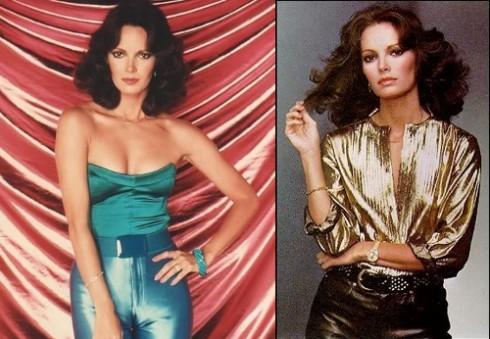 """Jaclyn Smith, diễn viên vào vai thiên thần trong """"Những thiên thần của Charlie"""" lại là đại diện cho phong cách glam """"nguy hiểm và quyến rũ"""" với những item đặc trưng như: jumpsuit, áo cổ chữ V, quần bó sát người - tất cả đều sáng bóng và lấp lánh ánh kim."""