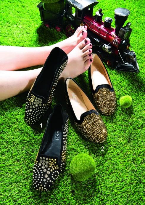 Loafer: Được làm mới với chi tiết đính điệu đà, phù hợp cho buổi tối <br/>1.Giày da lộn đính đinh tán và hạt kim loại Blugirl (Milano) 2.Giày đính pha lê ánh kim Alexander McQueen (Runway, Vincom B). Mô hình xe lửa Coto