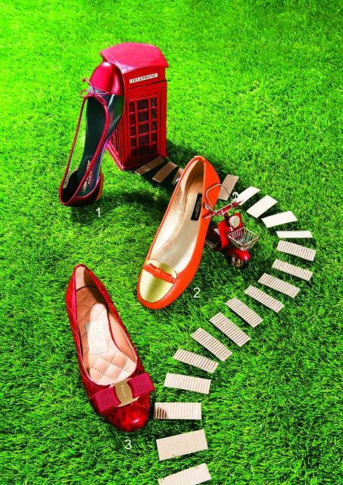 Ballerina: Giày ballerina thường có màu sắc và chi tiết nữ tính, nhỏ xinh ở mũi giày, phù hợp với môi trường công sở <br/>1.Giày ballerina da ánh kim đỏ kết hợp nhựa trong Saint Laurent (Runway, Vincom B) 2.Giày ballerina da mềm Dolce&amp;Gabbana 3.Giày Salvatore Ferragamo