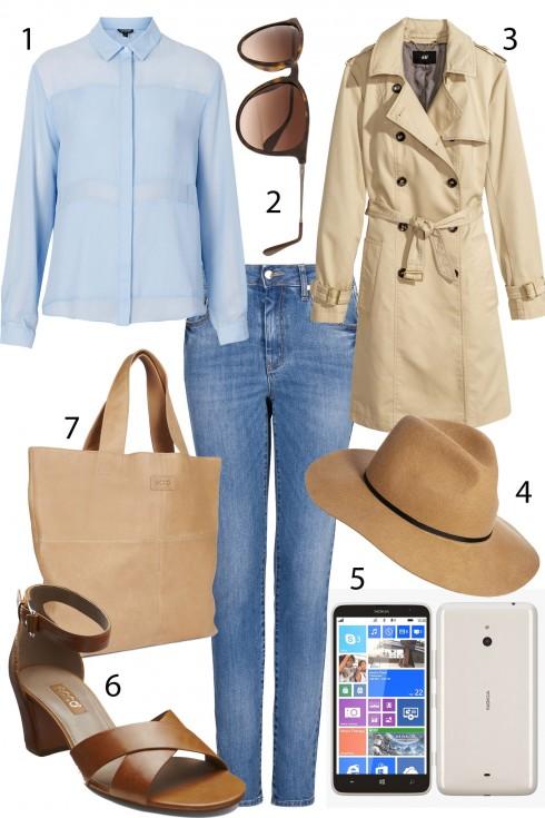 Chủ nhật: Phong cách Pháp tinh tế với sự kết hợp của quần jeans, áo trench coat và mũ fedora thời thượng.<br/>1. TOPSHOP 2. RAYBAN 3. H&M 4. ACCESSORIZE 5. NOKIA LUMIA 1320 (7.499.000 VNĐ) 6. ECCO 7. ECCO